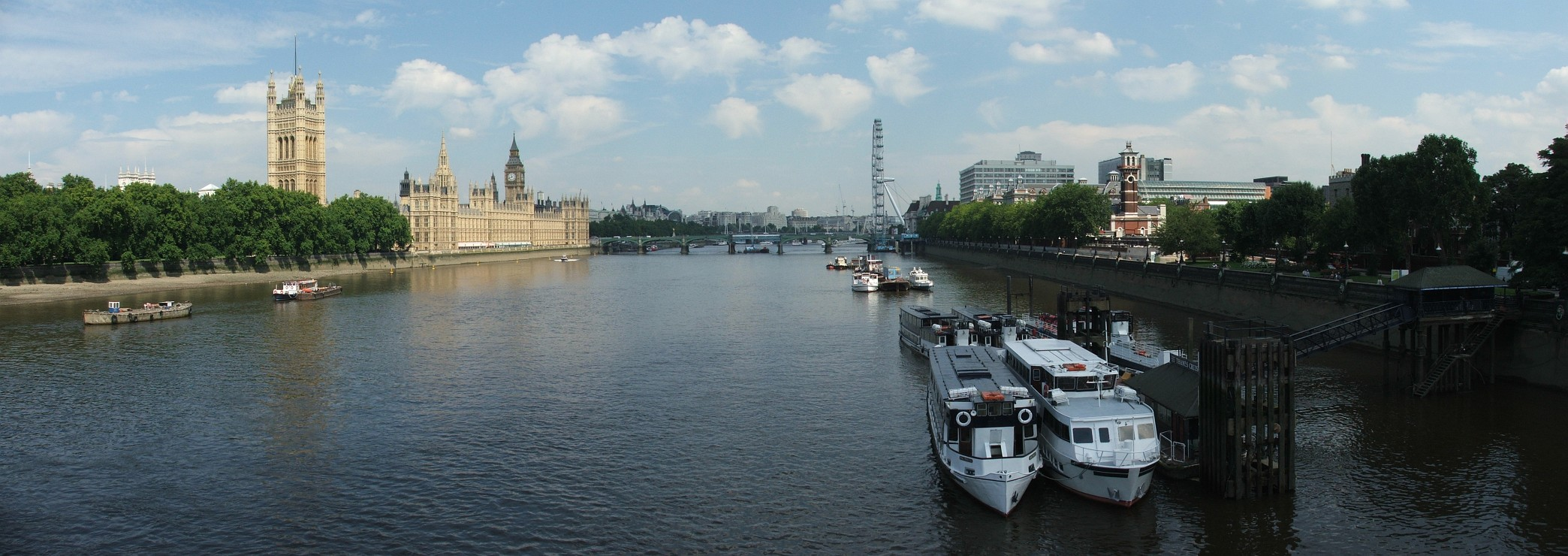 Widok z Lambeth Bridge: Tamiza, Big Ben i London Eye