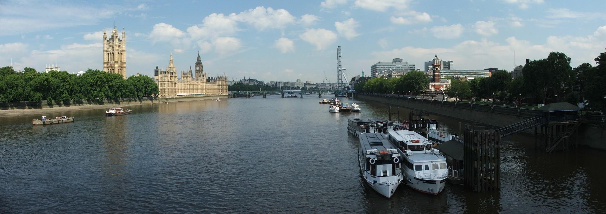 Widok z Lambeth Bridge: Tamiza, Big Ben i London Eye